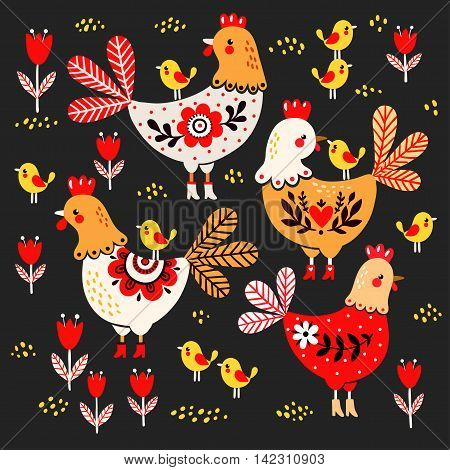 Vector illustration of a rooster hens and chickens on a black background.