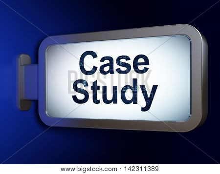 Education concept: Case Study on advertising billboard background, 3D rendering