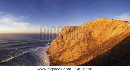 Cape Espichel Cliff Landscape On Sunset Light
