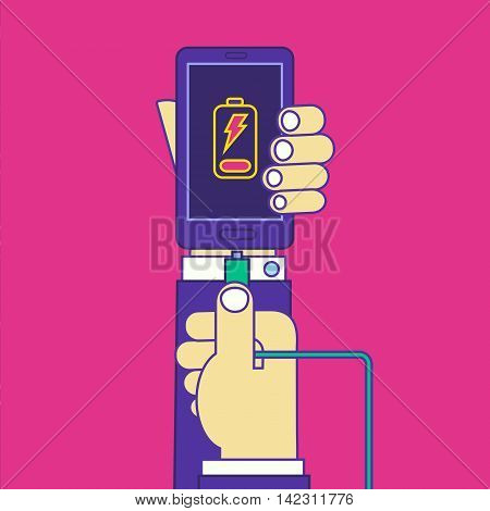 Man hands holding wire smartphone charger cable. Cell phone charging vector illustration. Trendy line cartoon style design.