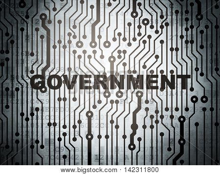 Politics concept: circuit board with  word Government, 3D rendering