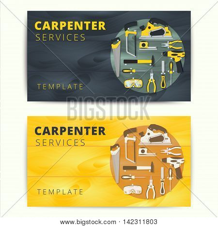 Carpenter or repairman service vector business card design. Woodworker or handyman banner background concept with construction tools and equipment.