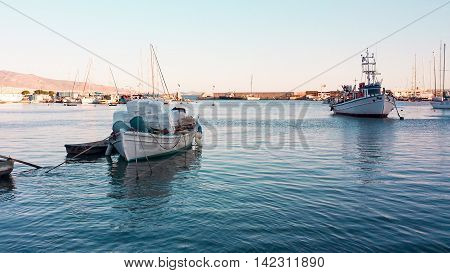View of the boats in little harbor in Mikrolimano Attica