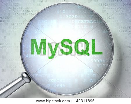 Software concept: magnifying optical glass with words MySQL on digital background, 3D rendering