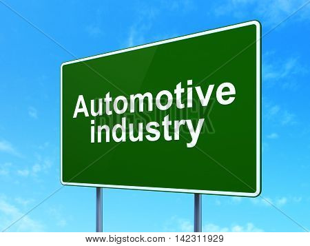 Industry concept: Automotive Industry on green road highway sign, clear blue sky background, 3D rendering