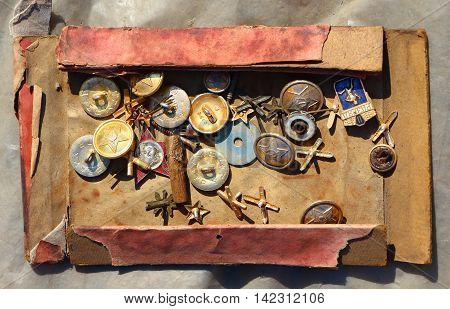Icons and buttons of the USSR. Flea market