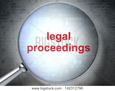Law concept: magnifying optical glass with words Legal Proceedings on digital background, 3D rendering
