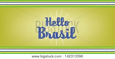 Hello brasil card with colored lines design over dark yellow background in outlines. Digital vector image