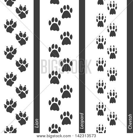Animal footprints seamless border set. Vector footprint lion leopard and cheetah