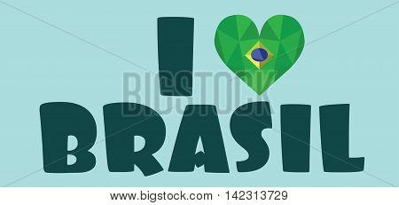 I love brasil card over light green background in outlines. Digital vector image