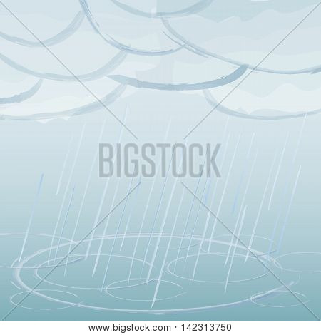 Vector image with rain dark clouds in wet day.