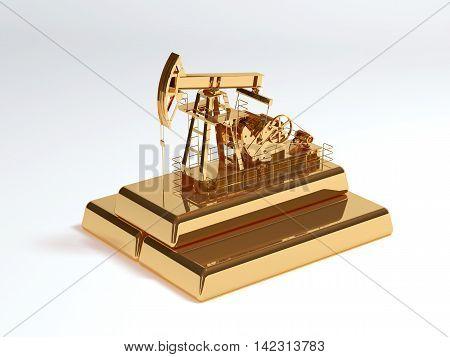 Gold oil rocking. Golden brick 3d render
