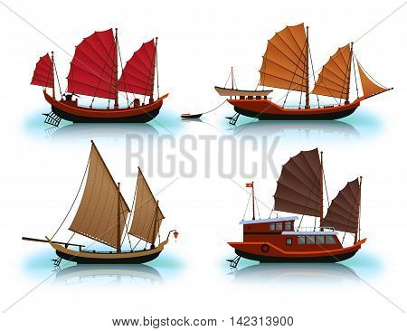 Junk boat Halong Bay Vietnam junk. Vector illustration