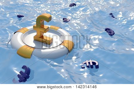 Pound Symbol With Life Buoy. Euro currency crisis. 3d render