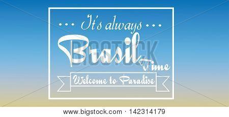 Brasil time card over blue background in outlines. Digital vector image