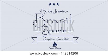 Brasil sports card with stars over silver background in outlines. Digital vector image
