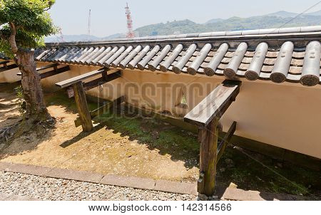 KOCHI JAPAN - JULY 19 2016: Palisade walls (hei) of Kochi castle Shikoku Island Japan. Kochi is one of only 12 survived castles in Japan