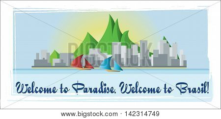 Welcome to Brasil paradise card with mountains boats and city view over white background in outlines. Digital vector image