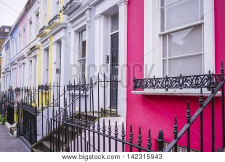 Typical colourful houses of Notting Hill district near Portobello road - London, UK