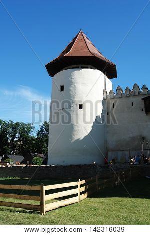 KEZMAROK SLOVAKIA - JULY 08 2016: The old white tower in Kezmarok castle High Tatras Slovakia.