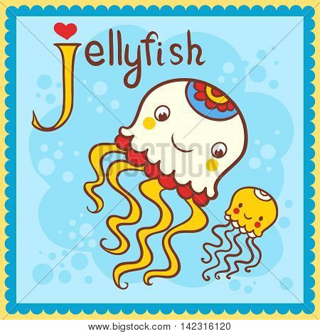 Vector picture with cartoon animals. Illustrated alphabet letter J and jellyfish.