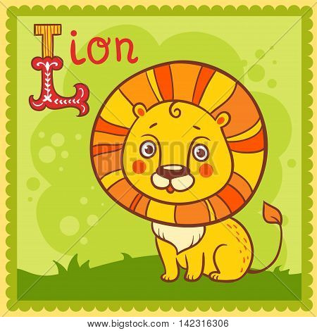 Illustrated alphabet letter L and lion. Vector picture with cartoon animals.