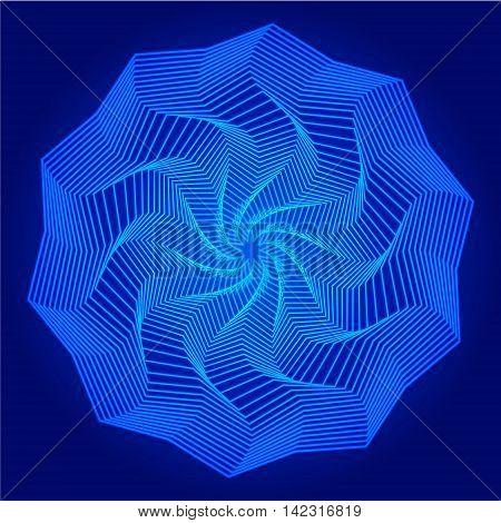 Abstract geometry blue mandala on dark background. Art vector illustration
