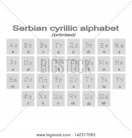 Set of monochrome icons with printed serbian cirillic alphabet for your design