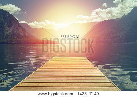 Water Wooden Pier / Bidge / Pontoon / Ponton in Hallstatt Austria Freedom Concept