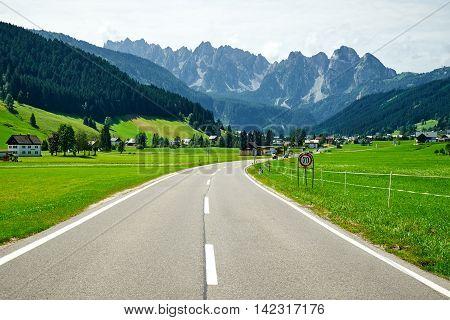 Upper Austria View of Gosau alpine road valley in summer time Austria
