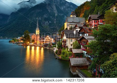 Hallstatt Village View. Beautiful Austrian Hallstatt Lake at Night