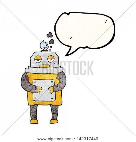 freehand speech bubble textured cartoon broken robot