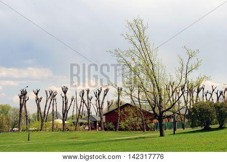 View of Kolomenskoye park in Moscow Russia. Popular landmark.