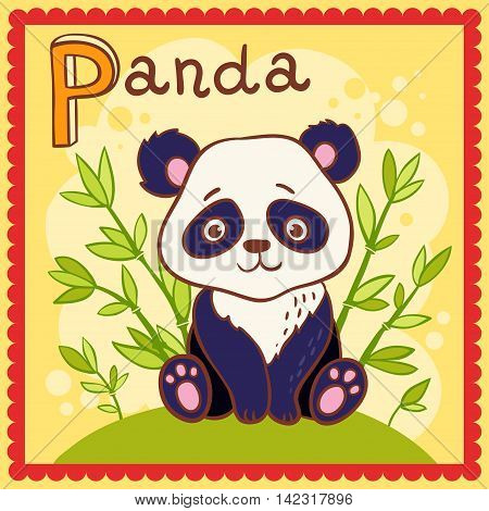 Illustrated alphabet letter P and panda. Vector picture with cartoon animals.