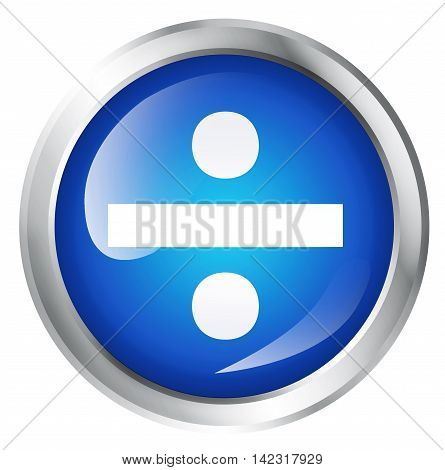 Glossy icon or button with division symbol. mathematical sign. 3D illustration