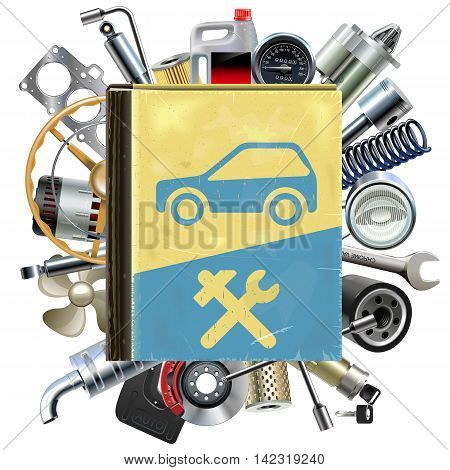 Vector Old Car Repair Book with Car Spares isolated on white background
