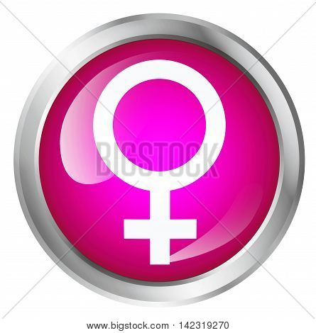 Glossy icon or button with female symbol. Girls only. 3D illustration