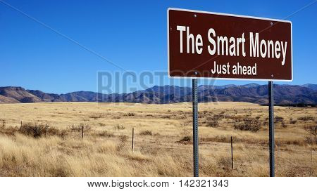The Smart Money road sign with blue sky and wilderness