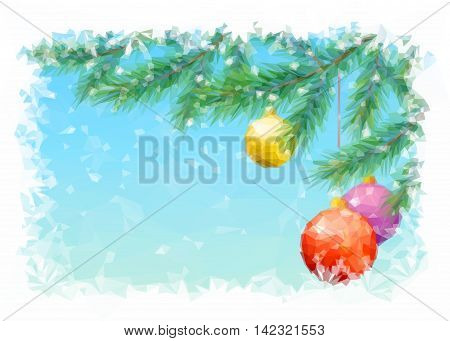 Christmas Holiday Background with Spruce Fir Tree Branches, Toy Balls and Snowflakes, Low Poly. Vector