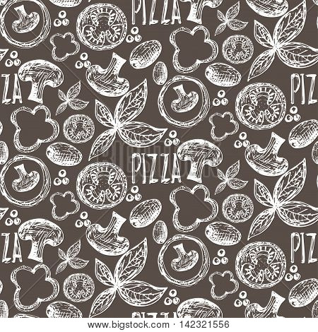 Seamless Pattern Hand Drawn Delicious Pizza With Tomatoes, Mozzarella, Champignons,oregano,pepper,on