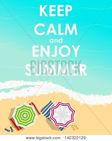Keep Calm and Enjoy Summer Creative Poster Concept. Card of Invitation, Motivation. Vector Illustration EPS10
