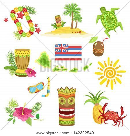 Hawaii Beach Vacation Related Set Of Objects. Isolated Flat Vector Icons With Traditional Hawaiian Representations.