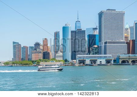 NEW YORK CITY, USA - JUNE 24, 2016: Downtown Manhattan - view from ferry to Governors Island