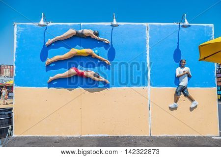 NEW YORK CITY, USA - JUNE 25, 2016: Wall project by John Ahearn, Coney Art Walls, the outdoor museum of street art