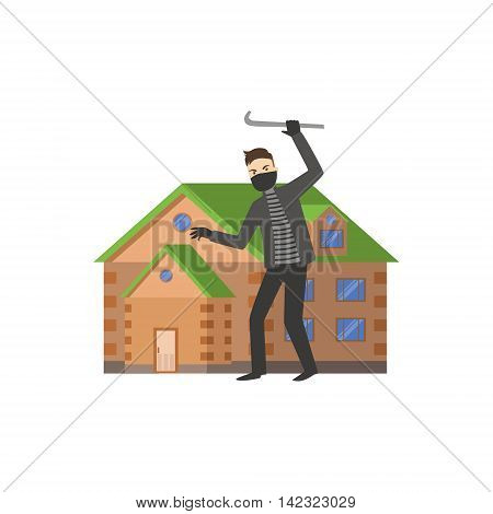 House And A Burglar Flat Vector Illustration. Insurance Case Clipart Drawing In Childish Cartoon Style.