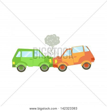 Two Cars Crushing Into Each Other Flat Vector Illustration. Insurance Case Clipart Drawing In Childish Cartoon Style.