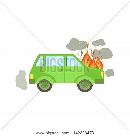 Car With Engine On Fire And Smoke Clouds Around Flat Vector Illustration. Insurance Case Clipart Drawing In Childish Cartoon Style.