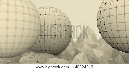 Low poly mountains landscape. 3d illustration. Polygonal mosaic background with spheres covered by grid