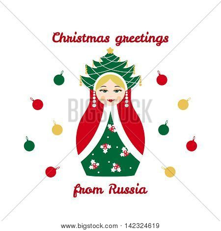 Christmas greetings from Russia, card with russian traditional wooden toy, babushka, matryoshka. New Year theme vector illustration. Retro nested doll design background. Winter holidays.