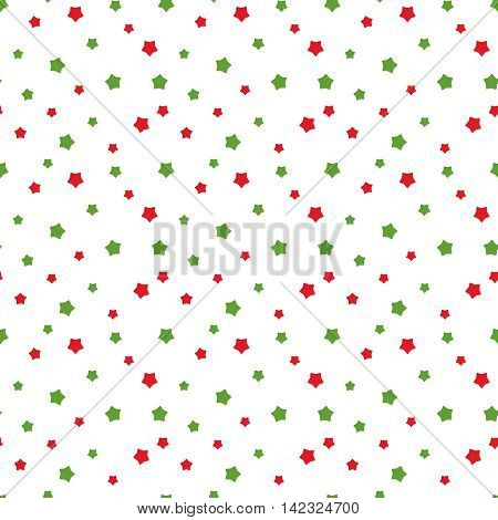 Vector seamless pattern for web design, prints etc. Modern stylish texture. Repeating background with stars in traditional Christmas colors can be used for paper or fabric print. Children theme.